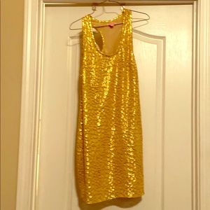 Glamorous Lily Pulitzer gold sleeveless dress